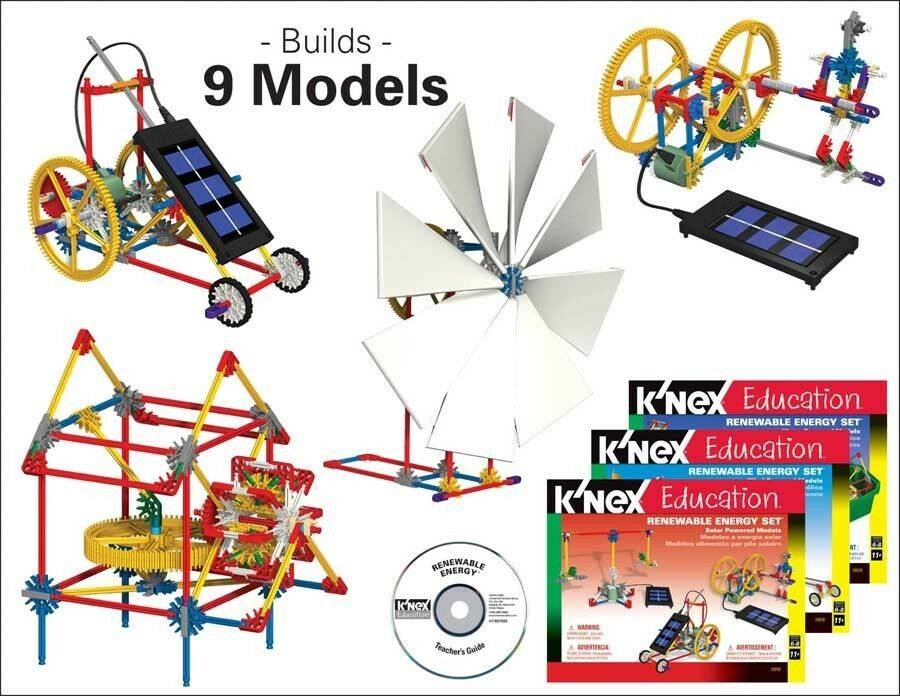Renewable Energy K'NEX Education STEM Wind Water & Solar Models Building KNEX