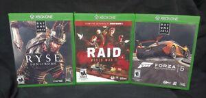 Forza-5-Raid-Ryse-Son-of-Rome-Microsoft-Xbox-One-Game-Lot-Tested-XBOX-1