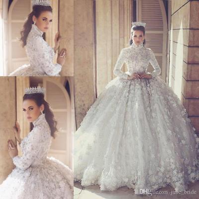 Luxury Muslim Lace Wedding Dress High Neck Long Sleeve Princess Bridal Gown Ebay