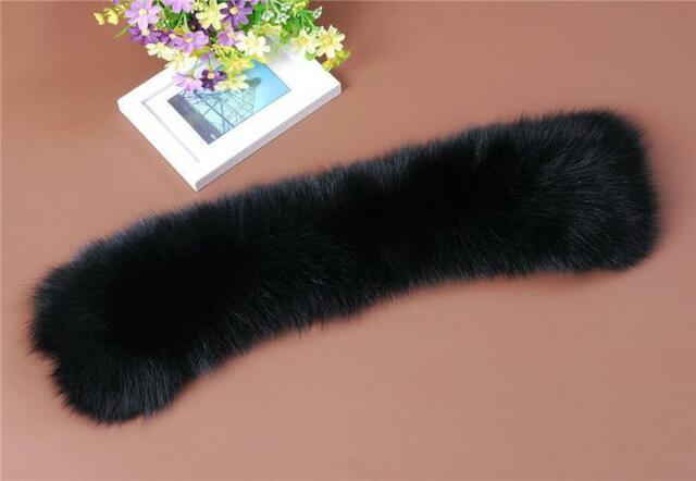 Newly Black Real Farm Fox Fur Collar Scarf Wrap Shawl Neck Warm Cape Cool White