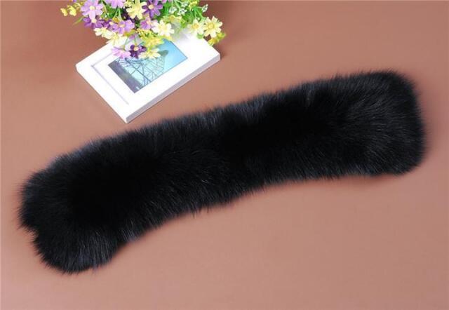 Newly Black Real Farm Fox Fur Collar Scarf Wrap Shawl Neck Warm Cape Cool White