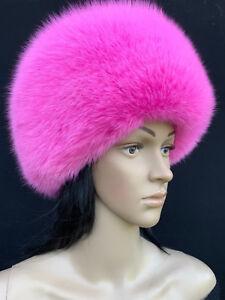 05b4cb15 Arctic Fox Fur Full Hat Saga Furs Pink Round Hat Clothing, Shoes &  Accessories