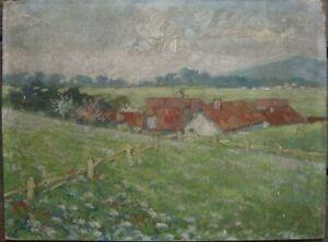 DACHER-FELDER-WIESE-BLUHENDE-BLUMEN-OLGEMALDE-UM-1900-ALPEN-FRUHLING-ANTIK-OL