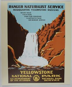 Yellowstone Wyoming National Park Service Vintage Wpa Style Travel Art Poster Ebay