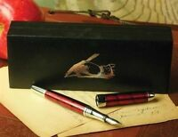 Victorian Trading Co. Crimson Fountain Pen W/ Black Ink Cartridge Giftboxed