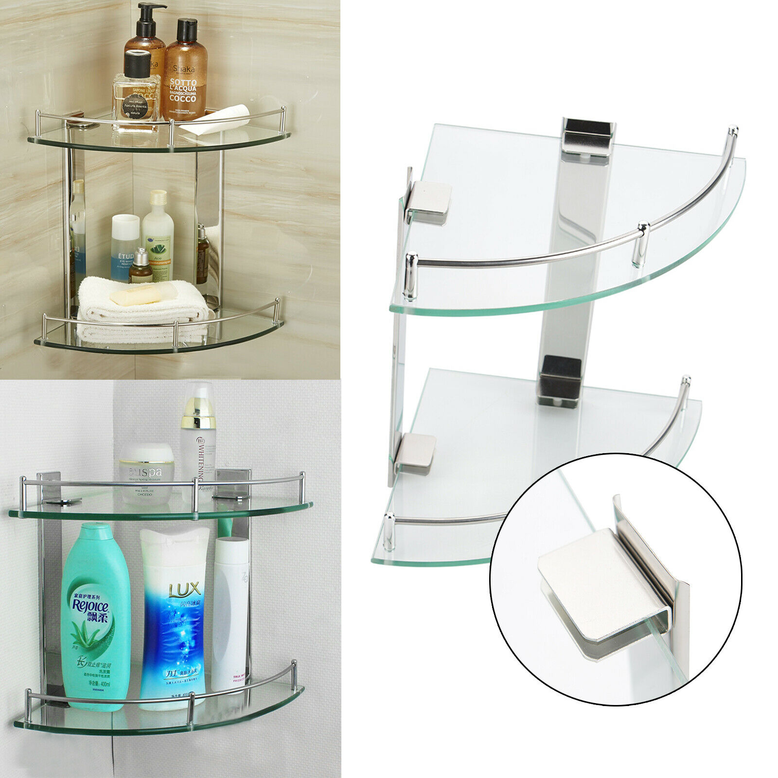 Ace 2 Tier Bathroom Corner Glass Shower Wall Mounted Shelf Rack Storage Caddy Uk