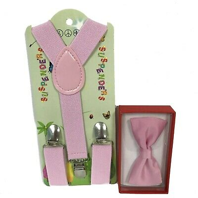 Kids Coral Pink BowTie Suspender Matching Set for Boys Girls Toddler w//gift box