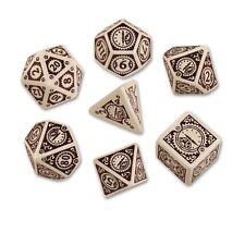 Q-Workshop Steampunk Clockwork Dice Set (7 Polyhedral) Beige & Brown SSTC74
