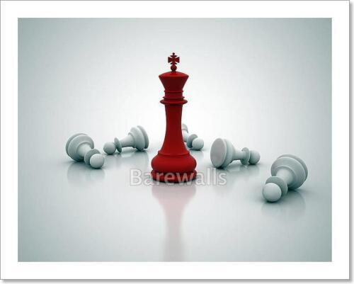 C Chess King Standing Game Over Art Print Home Decor Wall Art Poster