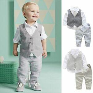NEW Kid Baby Boy Bow Tie Vest Shirt+Pants Outfit Clothes Gentleman Suit Set