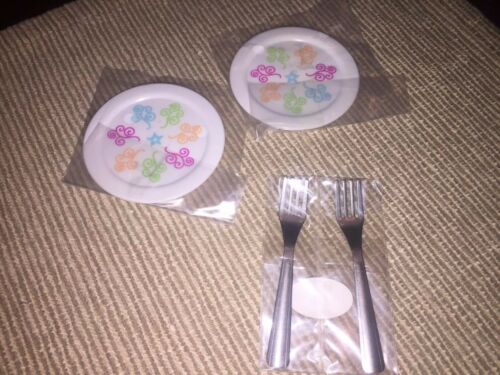 "American Girl Gourmet Kitchen Dinner lunch plates forks set for 18/"" doll NEW"