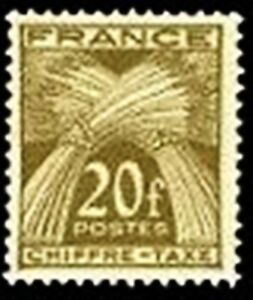 FRANCE-STAMP-TIMBRE-TAXE-YVERT-N-77-034-TYPE-GERBES-20F-BRUN-OLIVE-034-NEUF-x-TB