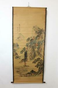 Grosses-Rollbild-aquarellierte-Druckgrafik-Landschaft-Boot-China