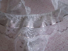 White and Silver Gathered Triple Ruffled Lace Trim with Silver Ribbon