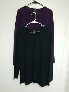 Eileen-Fisher-Women-2-Piece-Purple-amp-Black-V-neck-Top-Blouse-Long-Sleeve-Size-M