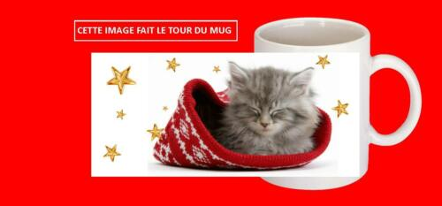 mug cup ceramic cat christmas with name choice of ref 261