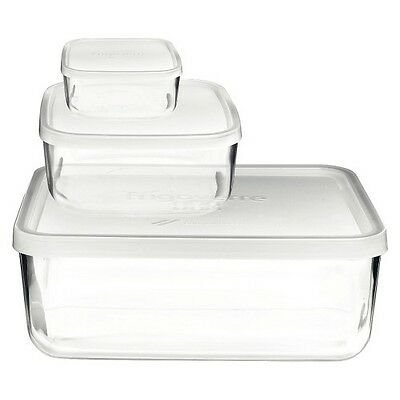 Bormioli Rocco Frigoverre 3 Piece Compact Glass Food Storage Container Set