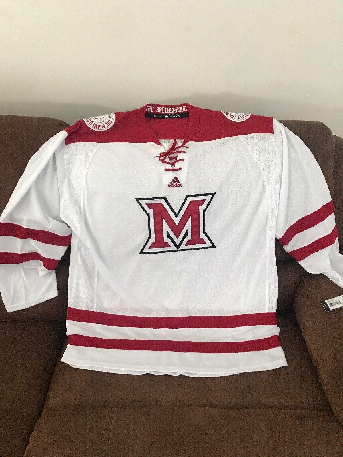 Adidas Miami University Redhawks Ohio Ncaa Hockey Jersey NWT Talla 2XL Hombres