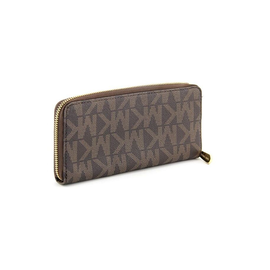 4fb6639f232c Michael Kors Jet Set Zip Around Continental Brown PVC Wallet With MK Logo  for sale online | eBay