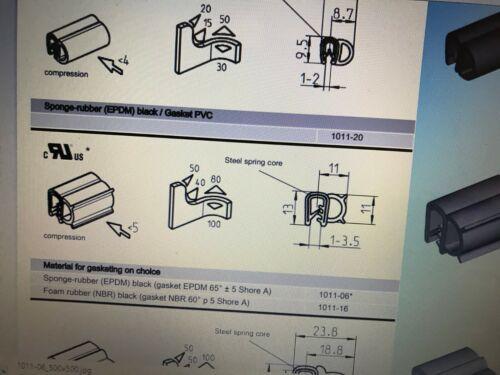 1011-06 EMKA Sponge Rubber EPDM Gasketing Edge Protection Profile Self Grip