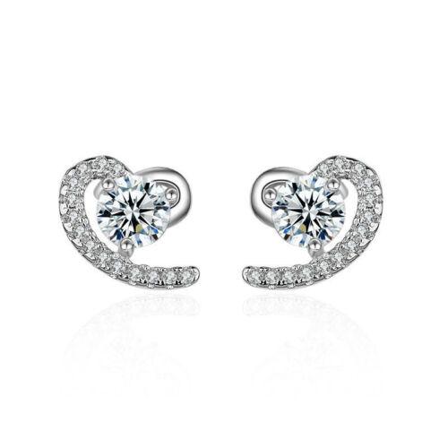 Femme Fashion 925 Sterling Argent mousseux cristal cœur Oreille Clous D/'Oreilles