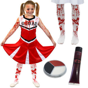 0978797aa Image is loading GIRLS-ZOMBIE-CHEERLEADER-RED-HALLOWEEN-FANCY-DRESS-COSTUME-