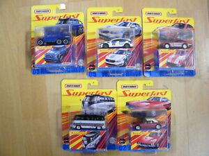 Matchbox-2020-Superfast-Welle-A-komplett-5-Modelle-Mercedes-6-6-VW-T1-Dodge-USA