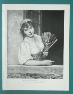 YOUNG-BEAUTY-Italian-Girl-in-Window-Holding-Fan-1892-Victorian-Era-Print