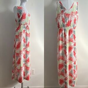 Lucky Brand Women's XL Floral Maxi Dress Sleeveless Fully Lined Flowy Tie Waist