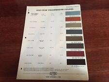 1957-58 VW Color Chart Catalog By Dupon. Original Not Copy Super Rare
