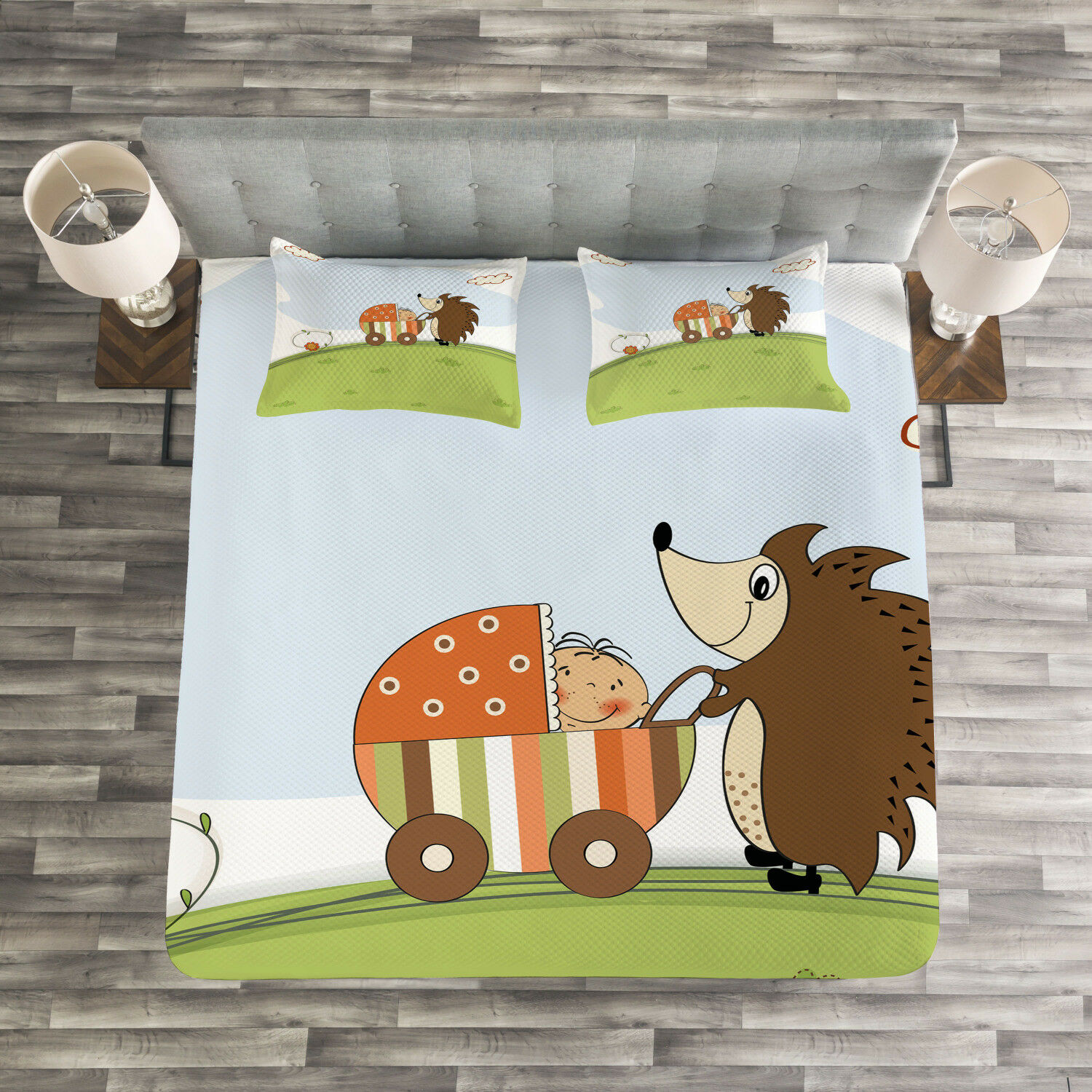 Funny Quilted Bedspread & Pillow Shams Set, Baby Shower and Hedgehog Print