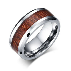 8mm-Tungsten-Steel-With-Wooden-Stripes-Band-Men-039-s-Wedding-Ring-Party-Size-7-12