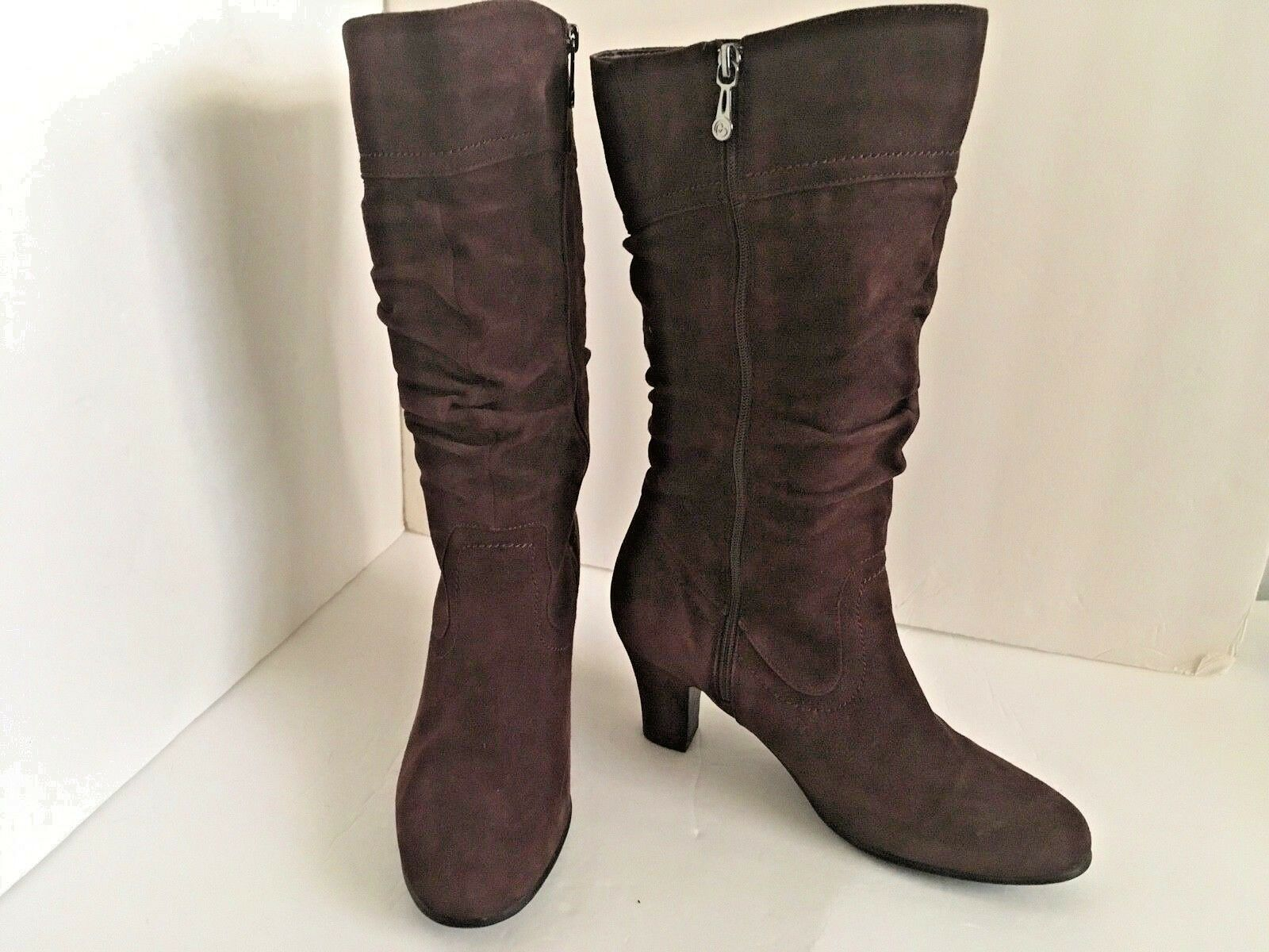 Blondo Mid-Calf Boots Brown Suede Aqua Predect For Women Size 7.5 38