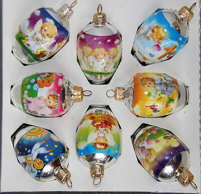 8 Ukrainian Glass Christmas Ornaments, Pysanka Hen Size, Xmas Orn., Angels  #9