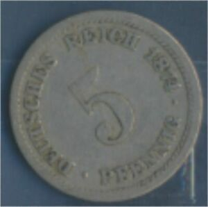 German-Empire-Jagerno-3-1874-D-very-fine-Copper-Nickel-1874-5-Pfennig-7849144