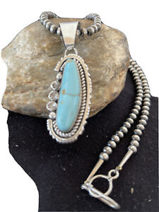 MenUNIQUE-Navajo-Pearls-Sterling-Silver-DRY-CREEK-Turquoise-Necklace-Pendant1181