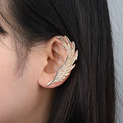 1PC Antique Gold Wing Gothic Punk Rock Style Ear Cuff Wrap Clip Earring New