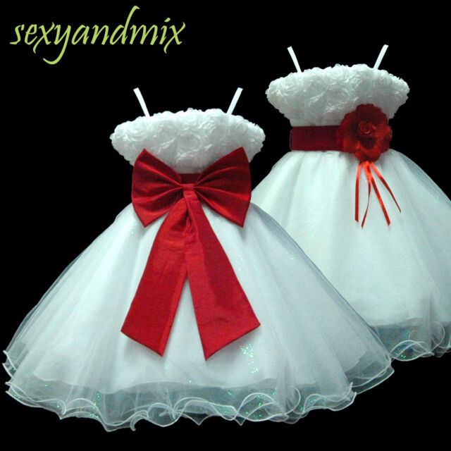 USMD70 Red Christmas Wedding Pageant Baby Flower Girls Dress 1 to 14 Y