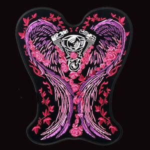Angel biker wings asphalt angel motorcycle patch 5 inch patch.