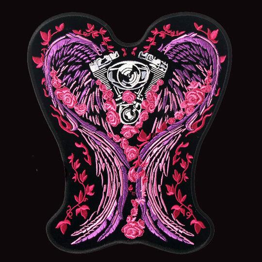 Ladies asphalt angel black motorcycle slit top womens biker pima.