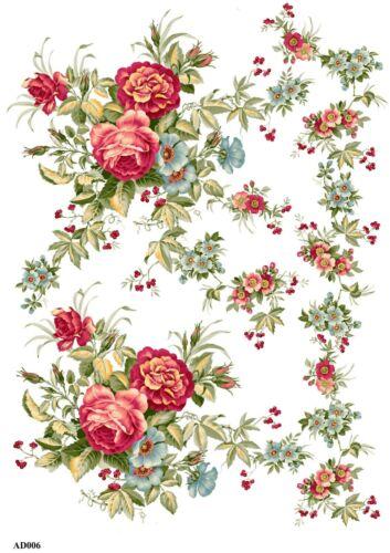 Rice paper decoupage 160596 napkin vintage flowers supplies craft scrapbooking