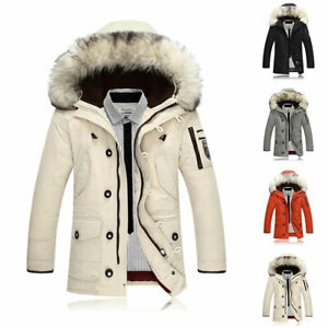 Men-039-s-Fur-Collar-Hooded-Parka-Winter-Thicken-90-Down-Coat-Outwear-Jacket-Warm