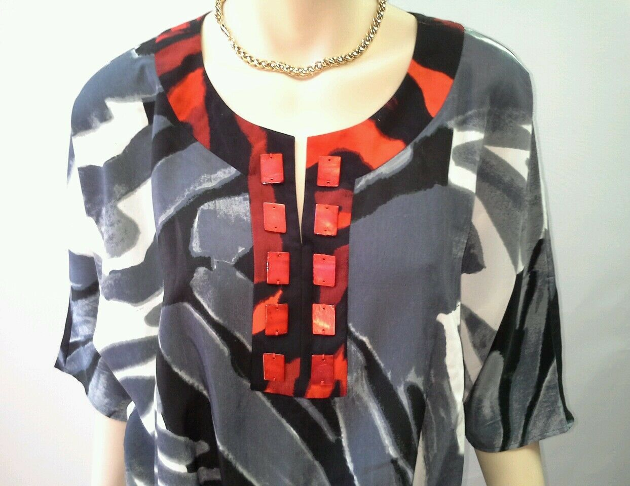 INDIKKA New York Size L 16 Grey Red Red Red Tunic Dress Multi Print NEW w tags RRP  395 04eeea