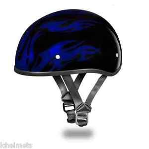 NEW SLIM LINE D.O.T. DAYTONA SKULL CAP BLUE FLAME HALF HELMET BEANIE ... 7e3280ab310