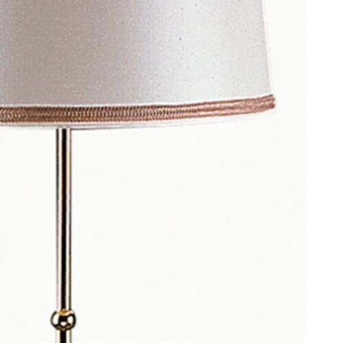 Standleuchte Stehlampe  Messing poliert  Schirm Seidenimitat  HS-LEUCHTEN