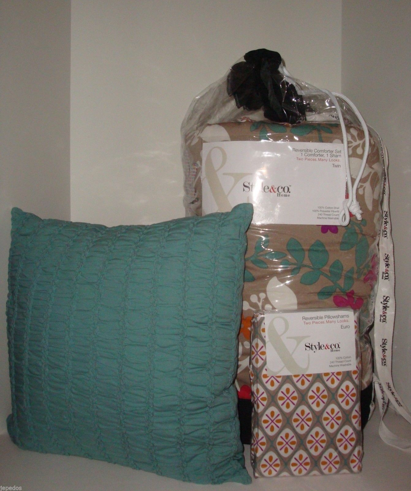Macy's Style & Co. 5PC Trellis TWIN Comforter Standard Euro Shams Decor Pillow