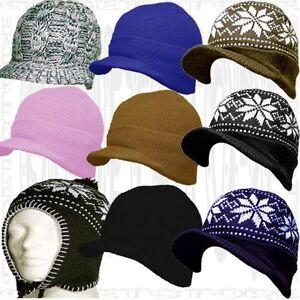 306db7c926a Acrylic Brim Knit Black Stocking Beanie Skull Cap Winter Visor Hat ...