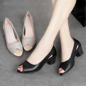 Women Peep Toe Chunky Low Heels Slip On Pumps Casual Block Sandals Shoes Office