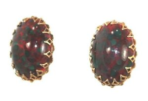 Signed-Gold-Miriam-Haskell-Hinged-Clip-on-Earrings-Prong-Set-Glass-Bloodstone