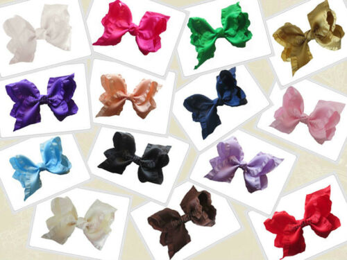 """14 BLESSING Happy Girl Boutique Hair Accessories Ruffle Ribbon 4/"""" ABC Bow Clip"""